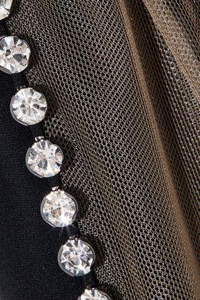 ALEXANDER WANG Tulle-paneled crystal-embellished cutout crepe mini dress