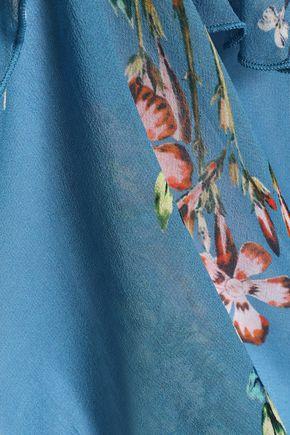 NICHOLAS Lattice-trimmed ruffled floral-print silk-chiffon blouse
