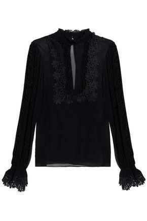 NICHOLAS Lace-appliquéd ruffle-trimmed silk crepe de chine blouse
