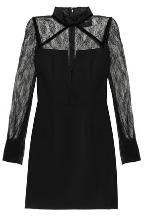 NICHOLAS Chantilly lace-paneled crepe mini dress