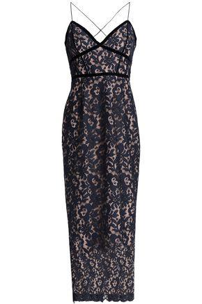 NICHOLAS Velvet-trimmed cotton-blend lace midi dress