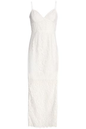 NICHOLAS Velvet-trimmed cotton-blend lace dress
