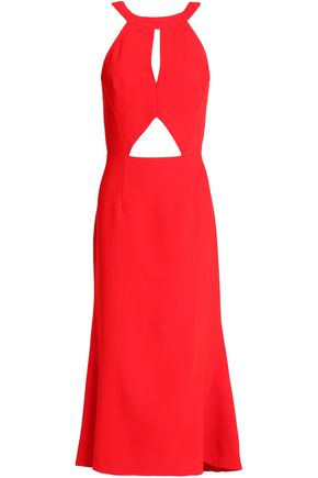 NICHOLAS Fluted cutout crepe midi dress