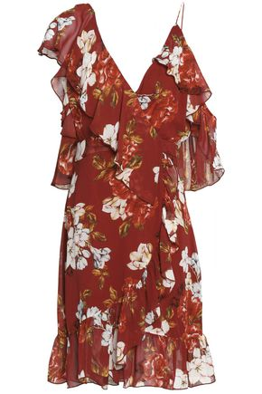 NICHOLAS Wrap-effect ruffled floral-print silk crepe de chine dress