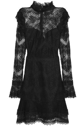 NICHOLAS Ruffle-trimmed cotton-blend lace dress