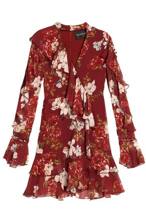 NICHOLAS Wrap-effect ruffled floral-print silk crepe de chine mini dress