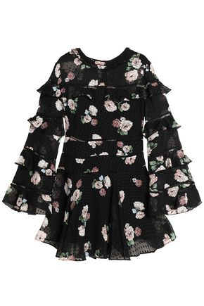 NICHOLAS Ruffled floral-print fil coupé silk-blend chiffon mini dress