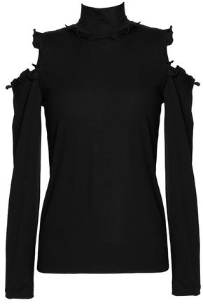 NICHOLAS Cold-shoulder ruffle-trimmed wool turtleneck top