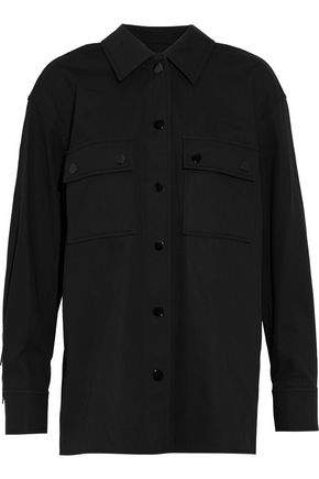 ALEXANDER WANG Fringe-trimmed silk-paneled cotton-twill shirt