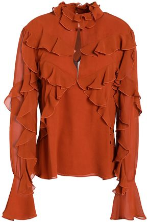 NICHOLAS Cutout ruffled washed-silk blouse