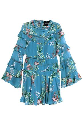 NICHOLAS Ruffled floral-print silk crepe de chine mini dress