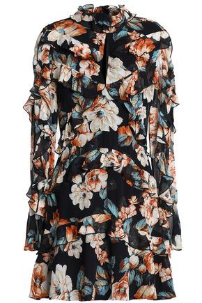 NICHOLAS Ruffled floral-print silk-chiffon mini dress