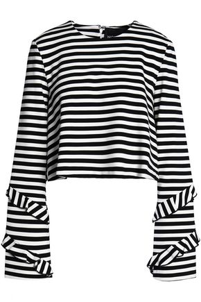 NICHOLAS Ruffle-trimmed striped jersey top