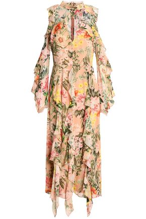 NICHOLAS Cold-shoulder ruffled floral-print silk crepe de chine midi dress