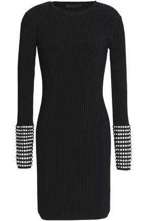 ALEXANDER WANG Crystal-embellished ribbed-knit mini dress