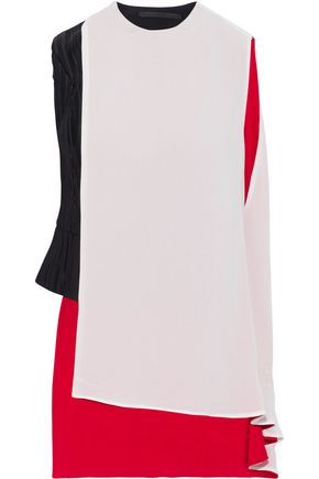HAIDER ACKERMANN Asymmetric layered crepe de chine and plissé-satin top