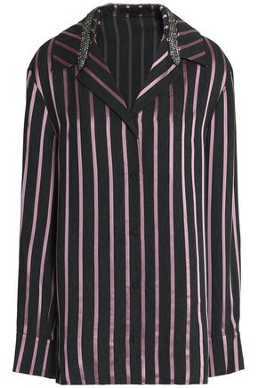 ALEXANDER WANG Crystal-embellished striped jacquard shirt