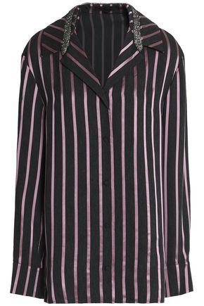 ALEXANDER WANG Crystal-embellished striped jacquard shirt