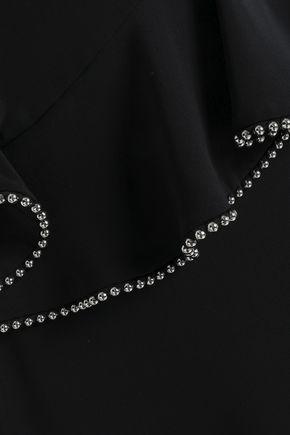 ALEXANDER WANG Bead-embellished silk peplum midi dress