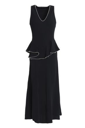 ALEXANDER WANG Bead-embellished silk peplum midi dress
