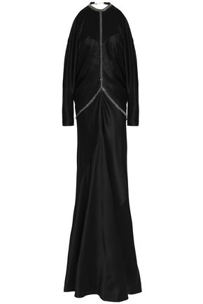ALEXANDER WANG Open-back embellished silk-satin gown