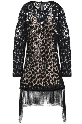 ALEXANDER WANG Embellished cotton-blend lace mini dress