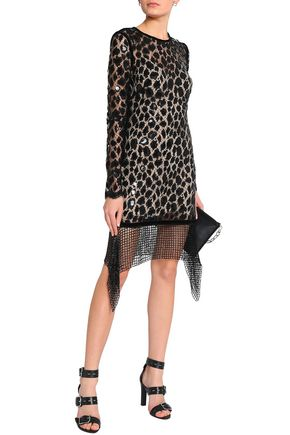 ALEXANDER WANG Embellished cotton-blend lace mini dress