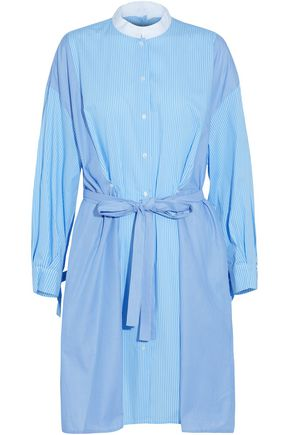 MAJE Tie-front striped cotton-blend poplin shirt dress