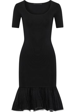 ALEXANDER WANG Fluted embellished stretch-knit dress