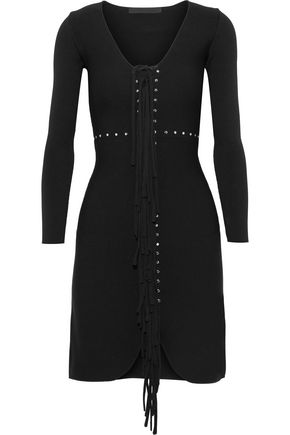 ALEXANDER WANG Fringed studded stretch-knit mini dress