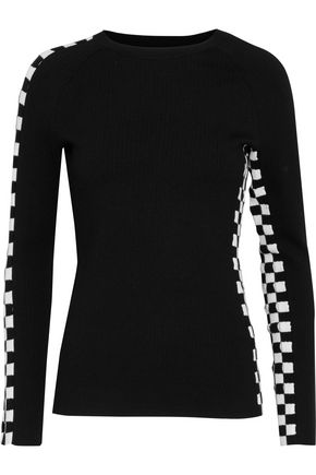 ALEXANDER WANG Cutout checked stretch-knit top