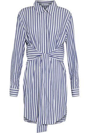 T BY ALEXANDER WANG | Alexanderwang.T Tie-Front Striped Cotton-Poplin Shirt Dress | Goxip
