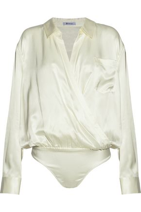 ALEXANDERWANG.T Wrap-effect silk-satin bodysuit