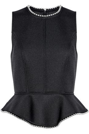 ALEXANDER WANG Bead-trimmed twill peplum top