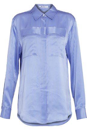 T by ALEXANDER WANG Striped silk-satin shirt