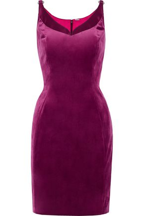 ELIE TAHARI Rena satin-trimmed velvet mini dress