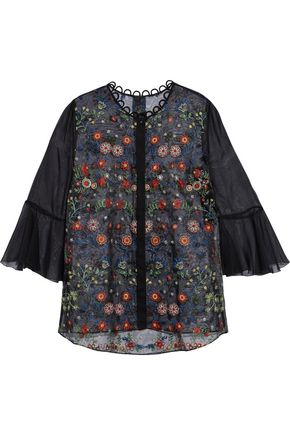 ELIE TAHARI Embroidered organza blouse