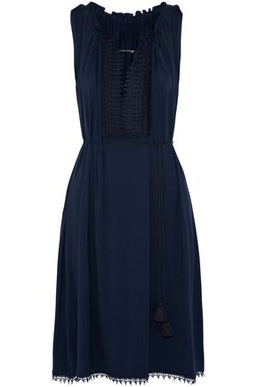 ELIE TAHARI Lace-trimmed stretch-jersey dress