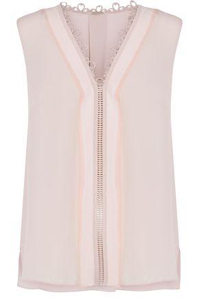 ELIE TAHARI Crochet-trimmed silk crepe de chine blouse