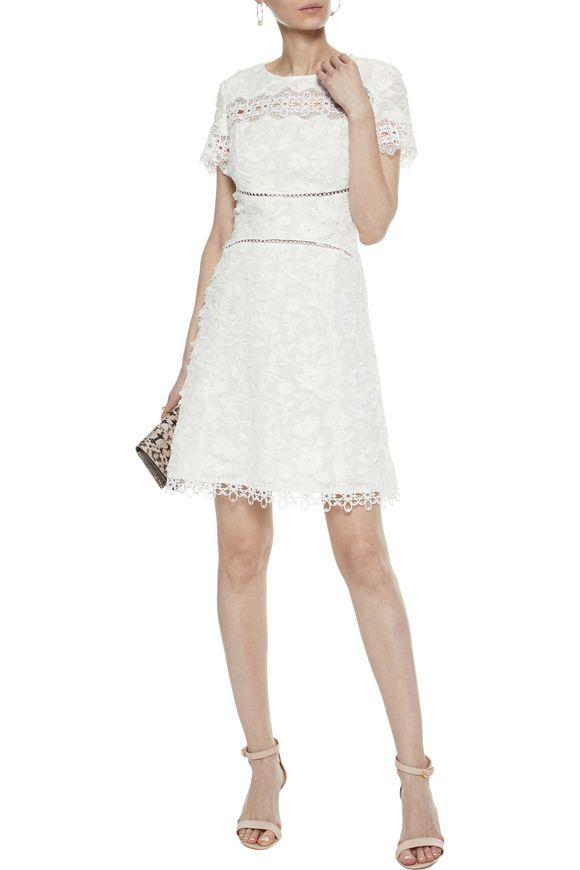 9654077c367e Adina guipure lace-paneled embroidered ramie mini dress | ELIE ...