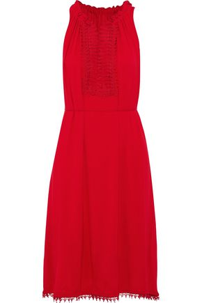 ELIE TAHARI Amina crochet-paneled stretch-jersey dress