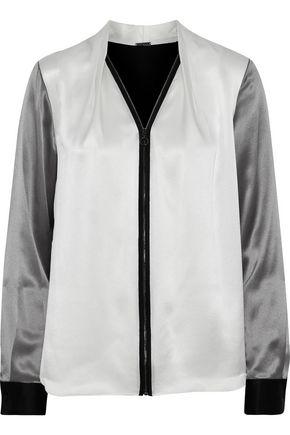 ELIE TAHARI Rosalina color-block silk-satin blouse