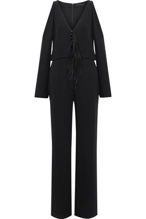 ALEXANDER WANG Cold-shoulder fringe-trimmed silk jumpsuit