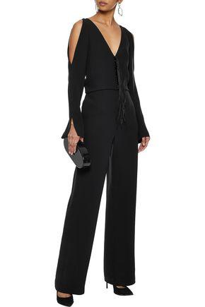 ALEXANDER WANG Cold-shoulder fringe-trimmed silk jumpsuit