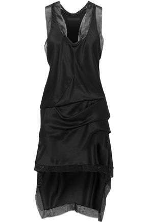 ALEXANDER WANG Asymmetric chain-trimmed silk-satin mini dress
