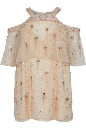 ELIE TAHARI Cold-shoulder layered embellished silk-chiffon blouse