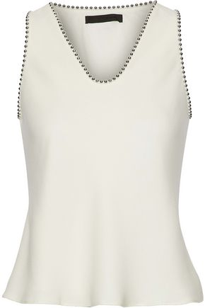 ALEXANDER WANG Bead-trimmed silk crepe de chine top