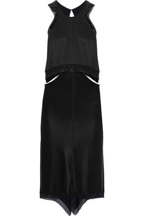 ALEXANDER WANG Chain-trimmed cutout silk-satin dress