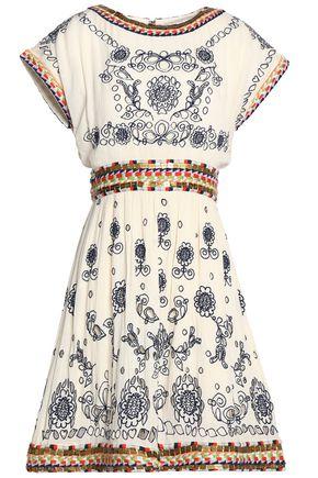 ALICE+OLIVIA Cutout embellished crinkled-gauze dress
