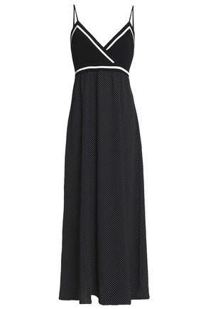 BAILEY 44 Wrap-effect stretch-knit and polka-dot jersey midi dress